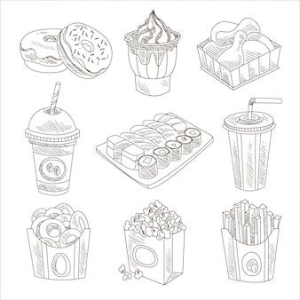 Conjunto de doodle de fast-food