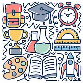 Conjunto de doodle de ferramentas escolares desenhadas à mão com ícones e elementos de design