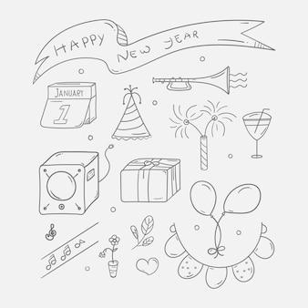 Conjunto de doodle de festa de ano novo desenhado à mão