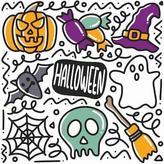 Conjunto de doodle de festa de halloween desenhado à mão com ícones e elementos de design