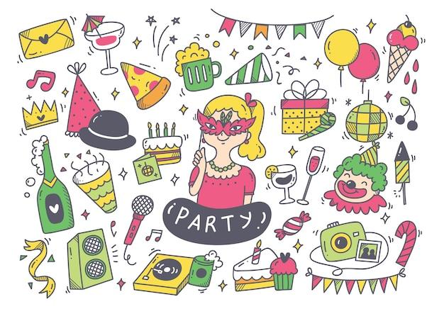 Conjunto de doodle de festa e acessórios