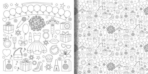 Conjunto de doodle de festa e padrão sem emenda com objetos femininos e elementos para estampas têxteis