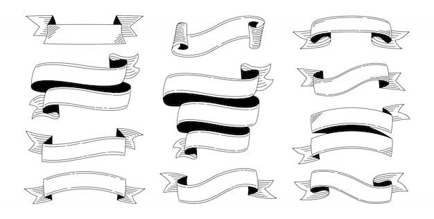 Conjunto de doodle de fita gravando fitas de banner