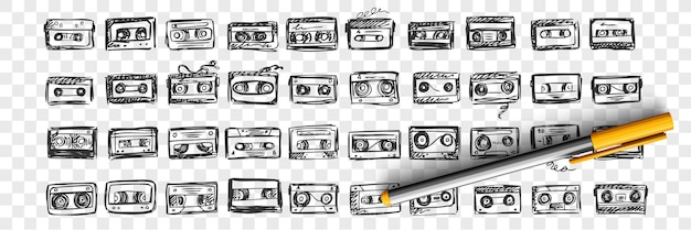 Conjunto de doodle de fitas de áudio de mão desenhada. coleção de padrões de modelo de esboços de desenho de lápis de tinta de caneta de videocassete em fundo transparente. ilustração de reproduzir dispositivos de gravação.