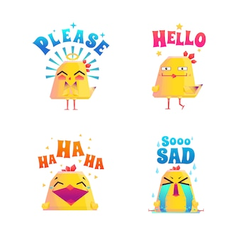 Conjunto de doodle de frango engraçado