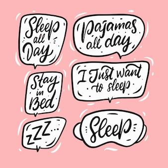 Conjunto de doodle de frases de sono de mão desenhada. discurso de bolha