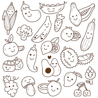 Conjunto de doodle de frutas e legumes kawaii