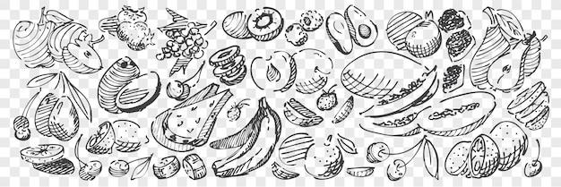 Conjunto de doodle de frutas mão desenhada