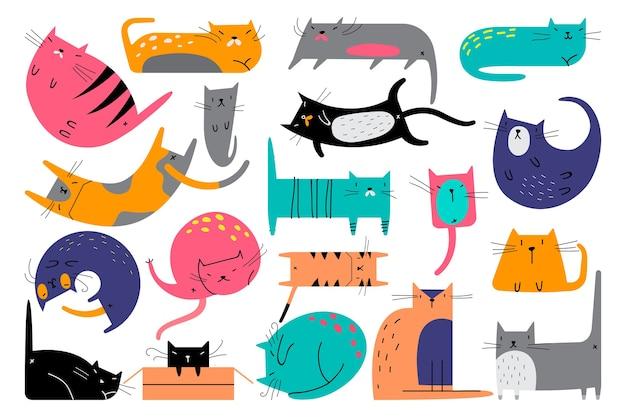 Conjunto de doodle de gatos isolado no branco