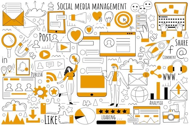 Conjunto de doodle de gerenciamento de mídia social. coleção de rabiscos de esboços desenhados à mão.