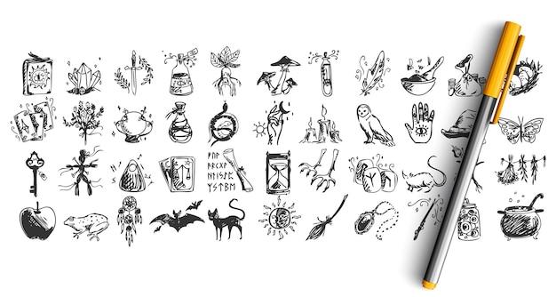 Conjunto de doodle de halloween isolado no branco