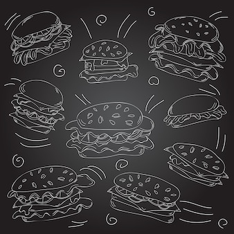 Conjunto de doodle de hambúrguer de fast food - ilustração vetorial - quadro-negro e giz