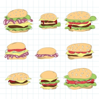 Conjunto de doodle de hambúrguer de fast food - ilustração vetorial