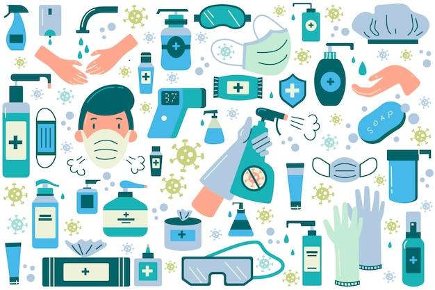 Conjunto de doodle de higiene.