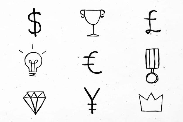 Conjunto de doodle de ícones de símbolos de moeda preta