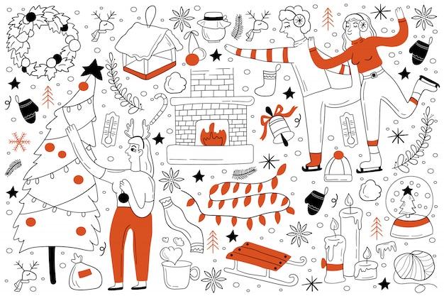 Conjunto de doodle de inverno