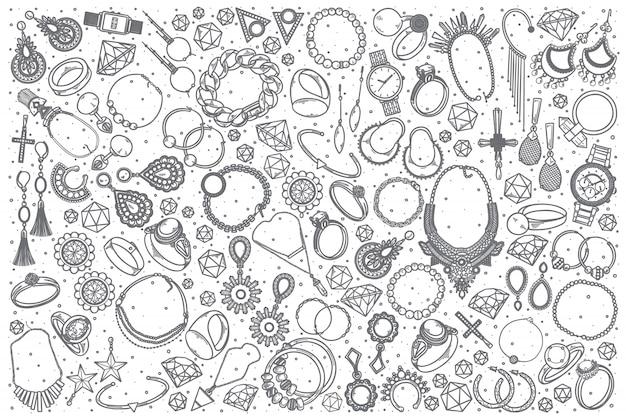 Conjunto de doodle de jóias mão desenhada