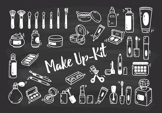 Conjunto de doodle de kit de maquiagem