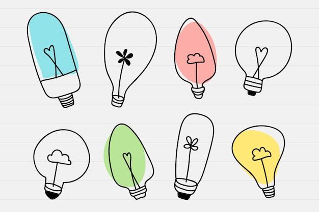 Conjunto de doodle de lâmpada