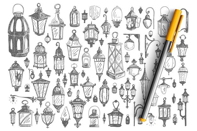 Conjunto de doodle de lâmpadas de rua.