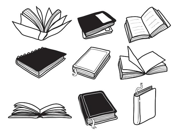 Conjunto de doodle de livro