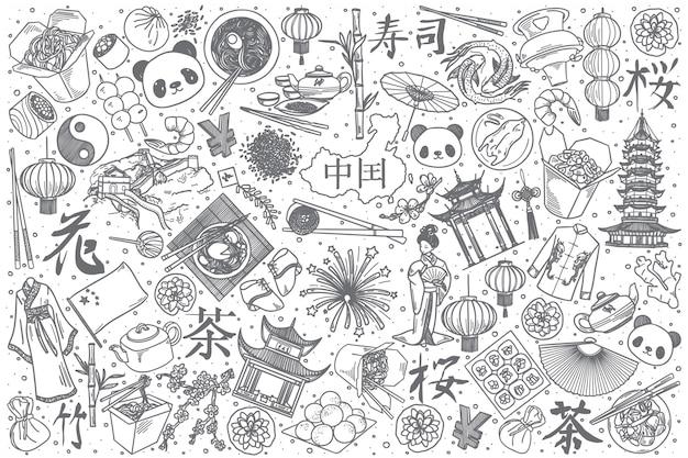 Conjunto de doodle de mão desenhada china