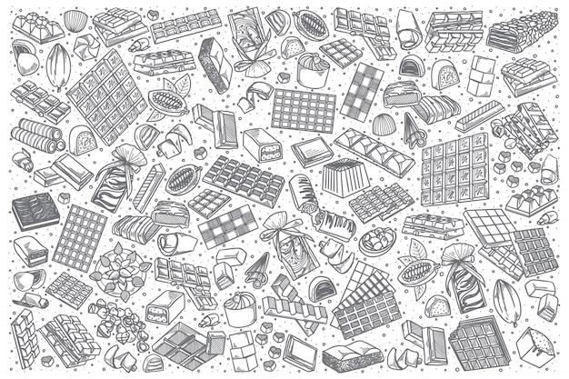 Conjunto de doodle de mão desenhada chocolate