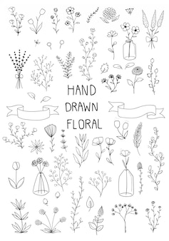 Conjunto de doodle de mão desenhada de floral e folhas