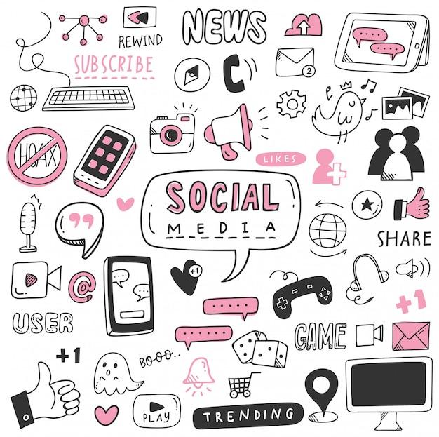 Conjunto de doodle de mão desenhada mídia social