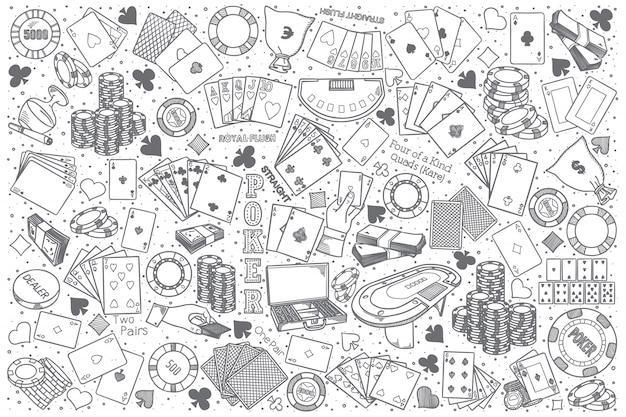 Conjunto de doodle de mão desenhada poker