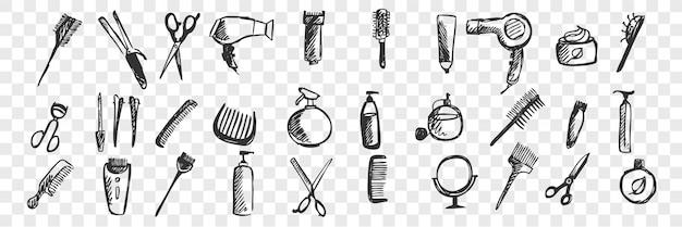 Conjunto de doodle de mão desenhada produtos de higiene pessoal