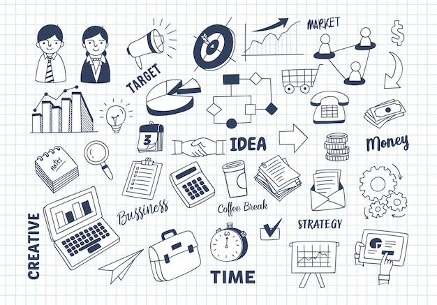 Conjunto de doodle de marketing de negócios