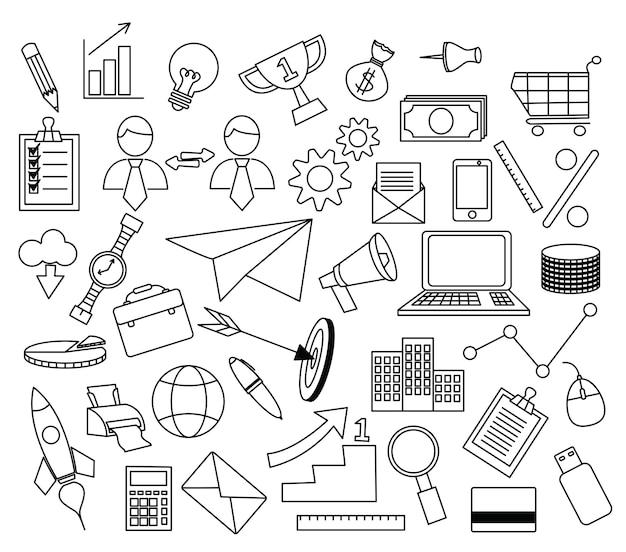 Conjunto de doodle de marketing digital