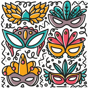 Conjunto de doodle de máscara de festa desenhada com ícones e elementos de design