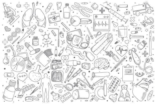 Conjunto de doodle de medicina