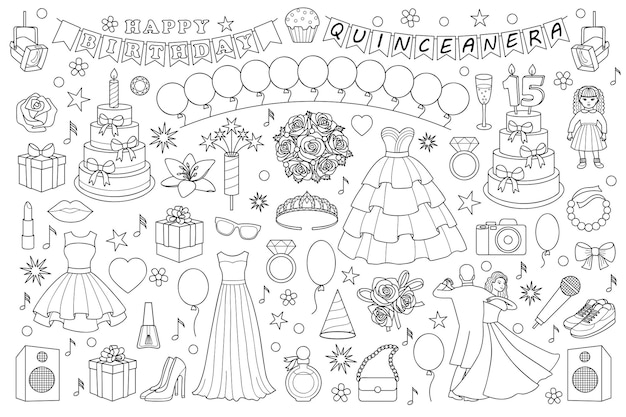 Conjunto de doodle de menina objetos e elementos para festa de aniversário de quinceanera e baile de formatura