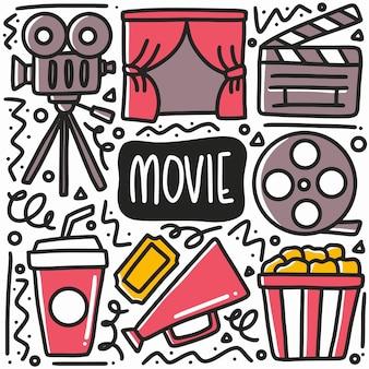 Conjunto de doodle de namoro de filme desenhado à mão com ícones e elementos de design