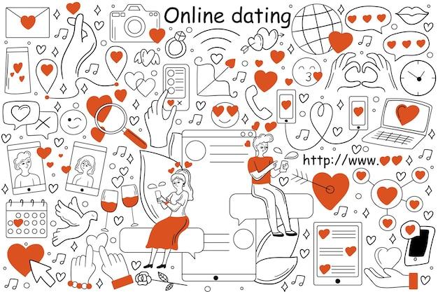 Conjunto de doodle de namoro online