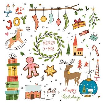 Conjunto de doodle de natal vintage