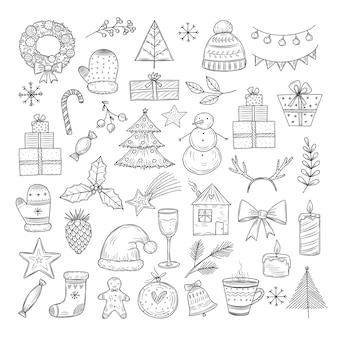 Conjunto de doodle de natal