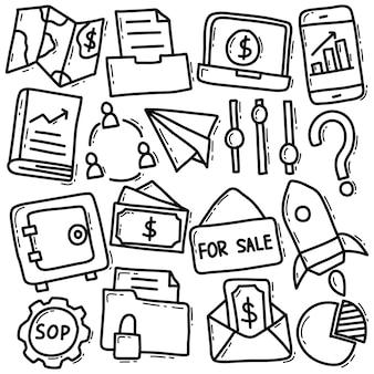 Conjunto de doodle de negócios e finanças