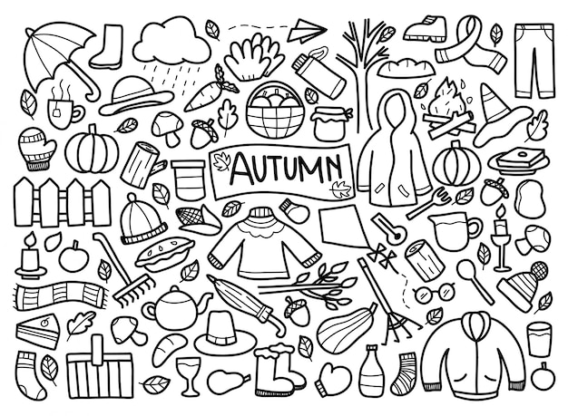 Conjunto de doodle de outono