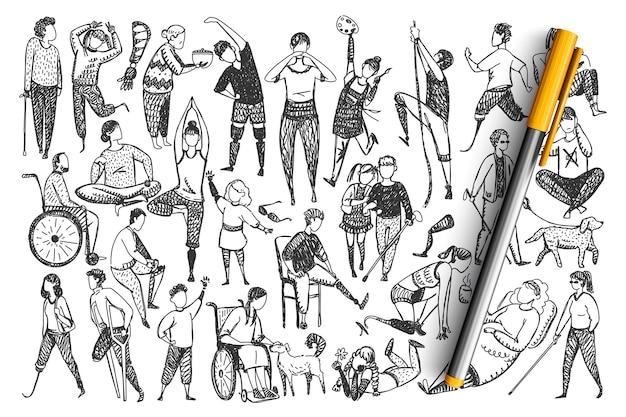 Conjunto de doodle de pessoas com deficiência.