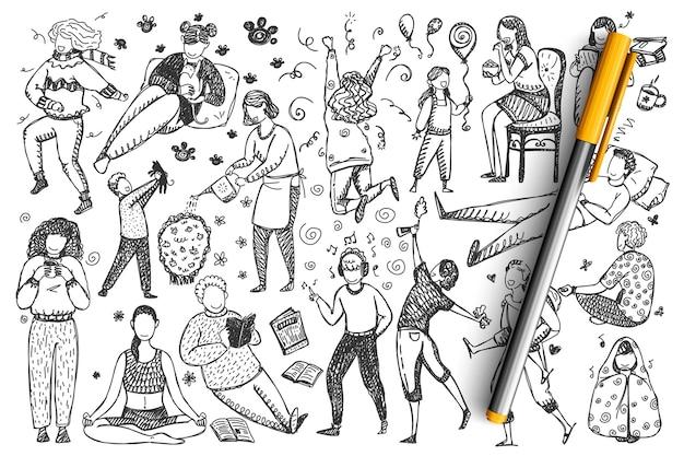 Conjunto de doodle de pessoas.