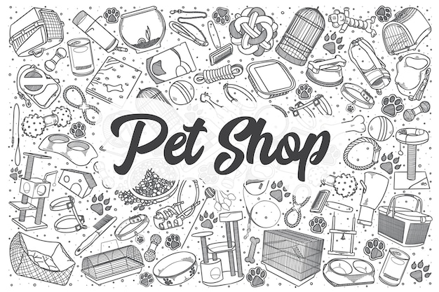Conjunto de doodle de pet shop desenhado à mão. letras - pet shop