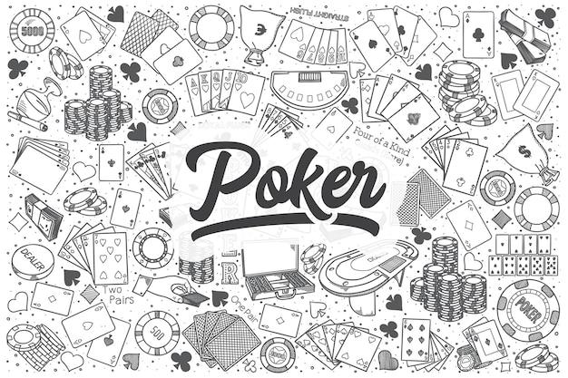 Conjunto de doodle de pôquer desenhado à mão. letras - poker