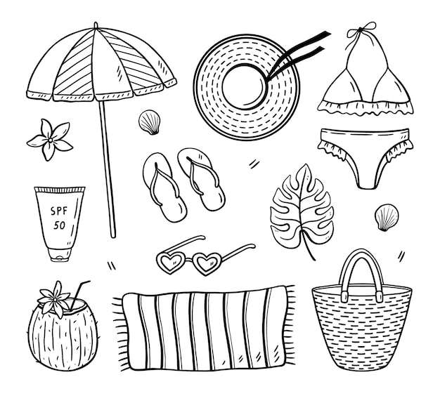 Conjunto de doodle de praia, biquíni feminino, bolsa de vime flip-flops, protetor solar de toalha e outros
