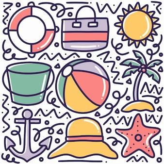 Conjunto de doodle de praia de verão desenhado à mão com ícones e elementos de design