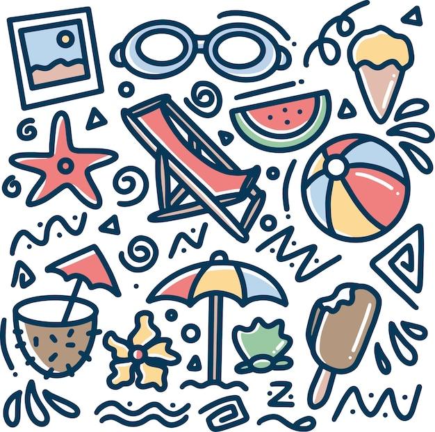 Conjunto de doodle de praia desenhado à mão com ícones e elementos de design