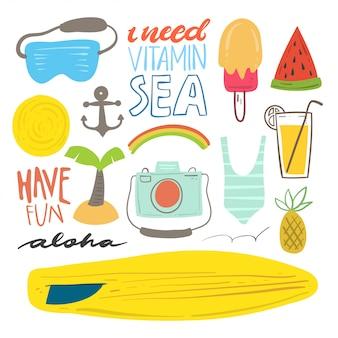 Conjunto de doodle de praia e verão